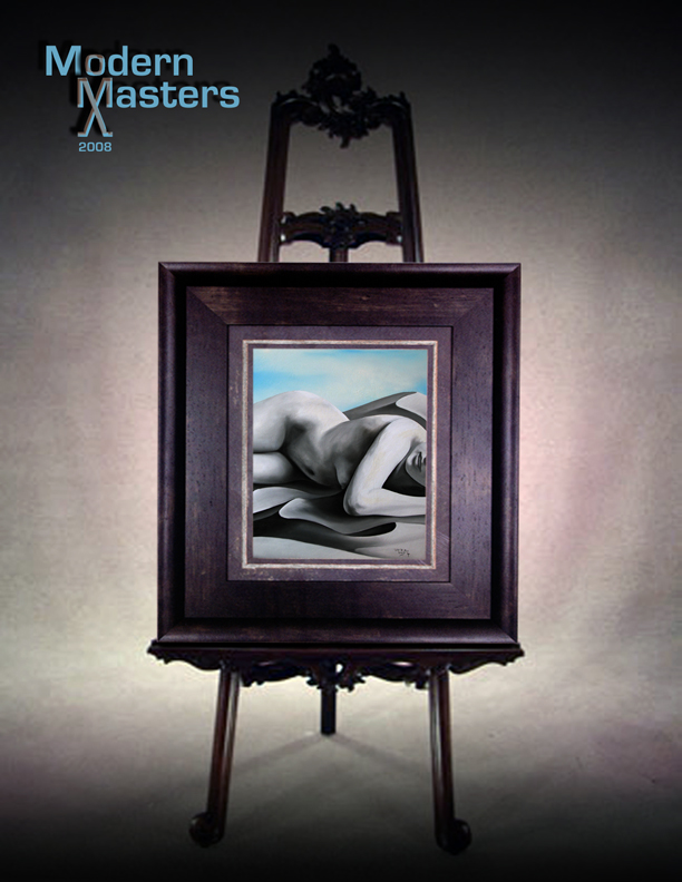 "Artist agents and fine art agents and brokers have chosen this to be the 2008 cover image featuring contemporary modern master David Dory's work ""Nearly Asleep"" in this aged and antiqued frame and easil"